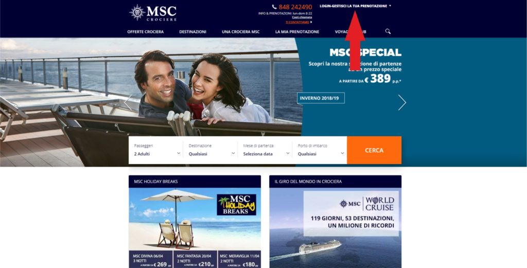 Come accedere all'area personale di MSC CROCIERE