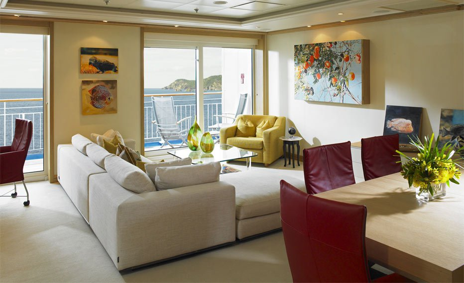 soggiorno appartamento nave the world crociere nel cuore